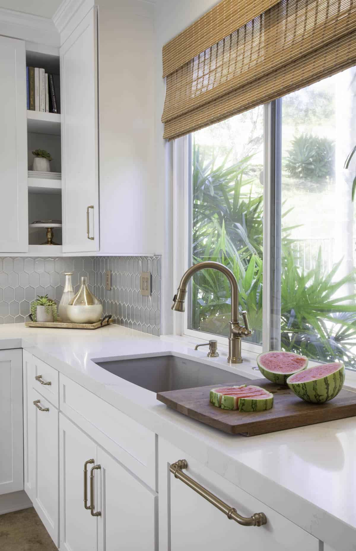 White kitchen with gold hardware remodel in Palmetto Bay